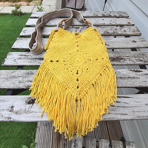 Cotton Macrame Mustard bag, Handmade Bag, Crochet Bag, Cross body bag