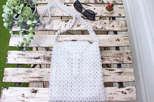 Transparent Acrylic Bead Shoulder Bag, Crystal Pearl Bag, Acrylic tote bag
