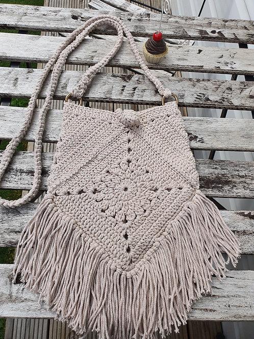 Cotton Macrame Beige bag, Handmade Bag, Crochet Bag, Cross body bag