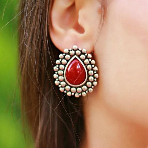Burgundy Teardrop Stud Earrings
