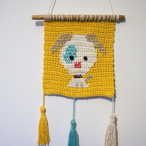 Handmade Crocheted Dog Wall decoration, Child room decoration