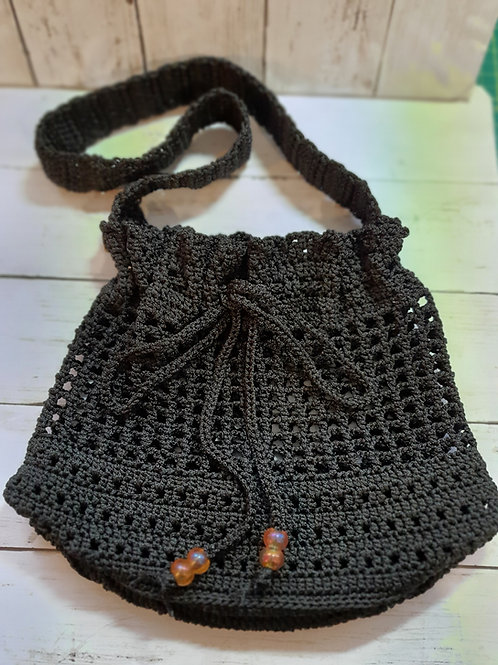 Crochet Black Handbag, Summer Bag, Everyday Bag, Honeycomb pattern Bag