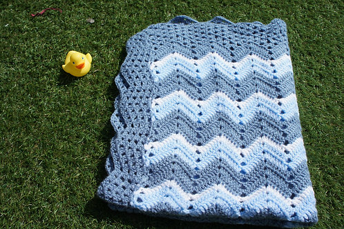 Shades of blue ripple blanket, throw