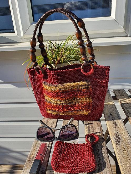 Wooden Handle Multi Colour pocket crochet Handbag with purse