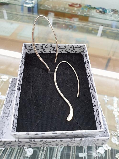 925 Sterling Silver Oval Drop Earrings, Silver Hoop Earrings, Modern Hoops