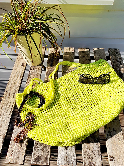 Neon Yellow bag, Handmade Bag, Crochet Bag, shoulder bag