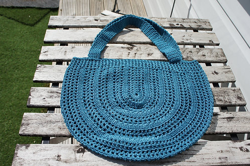 Semicircle Honeycomb Mesh crochet bag in jade colour