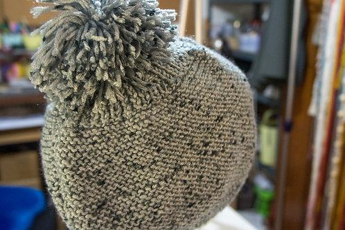 Grey twill knit loose hat
