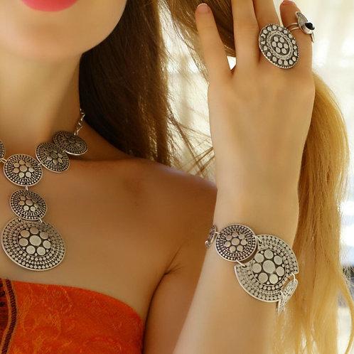 Silver Statement Bracelet , Hippie Style Unique Boho Bracelet , Antique Silver