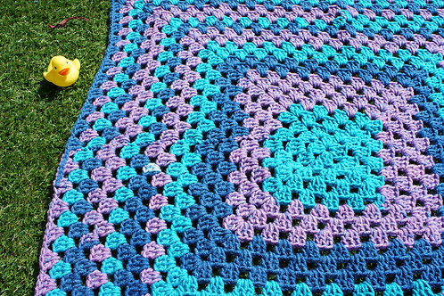 A Beautiful Granny Square turquoise blue blanket, throw