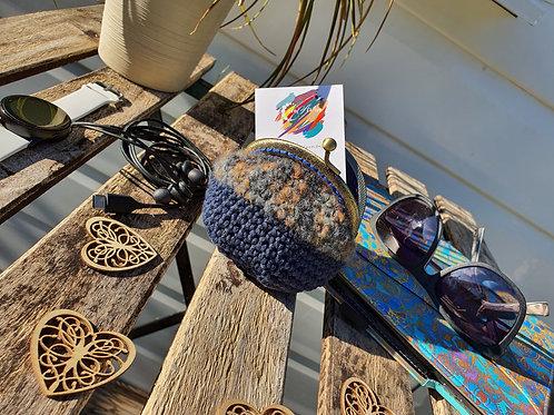Handmade, Crochet, Navy Kisslock, kiss clasp round base coin purse, money pouch
