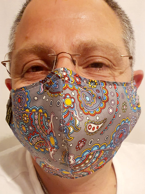 Stylish Reusable Face Mask Washable Cotton Fabric + nose wire and filter pocket