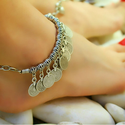 Silver Plated Boho Ankle Bracelet