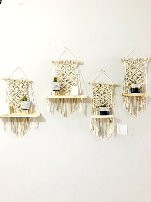 Triangle Pattern Macramé with Wood Shelf, Wall Hanging, Wall Décor