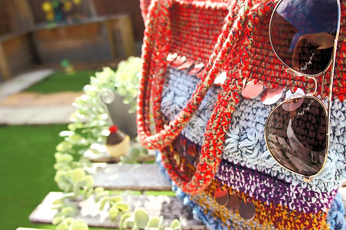 Handmade crochet multi colours vibrant belly dancer handbag, Boho style bag
