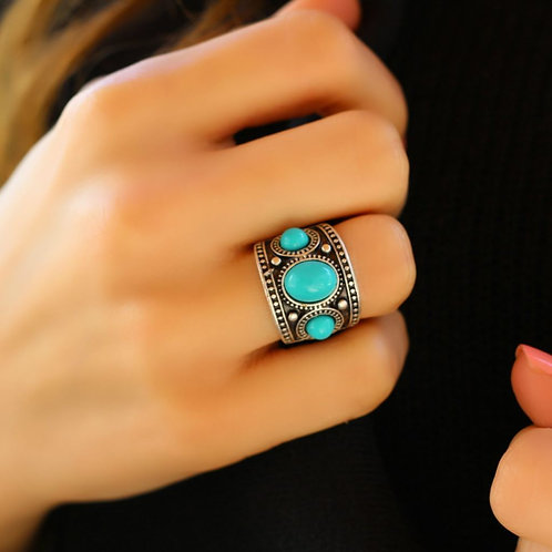 Turquoise Stone Ring, Silver Boho Ring, Unique Hippie Ring