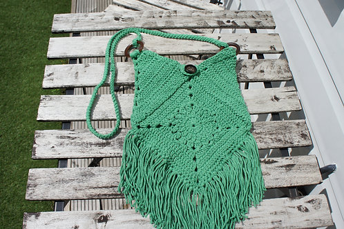 Cotton Macrame Green bag, Handmade Bag, Crochet Bag, Cross body bag