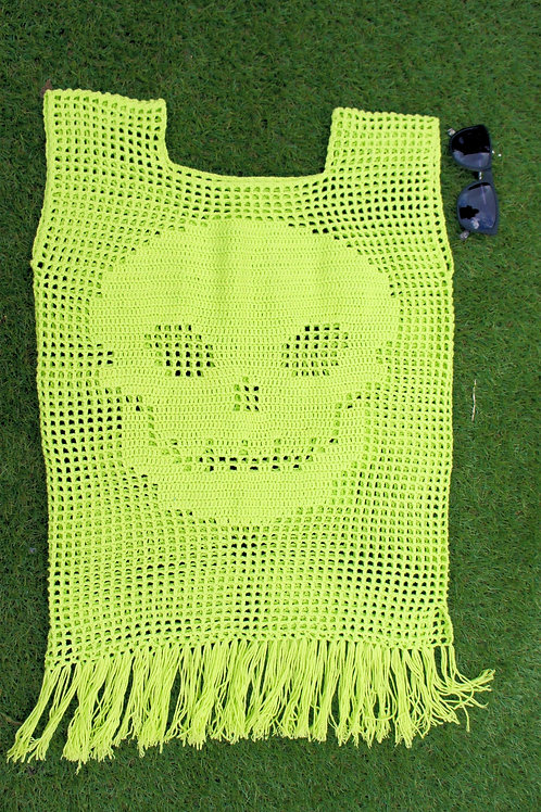 Crochet Neon Skull Pattern Tunic Top, Neon Lace Top
