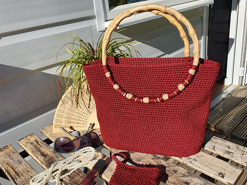 Fine Design Bamboo Handle Crochet Bag with coin purse