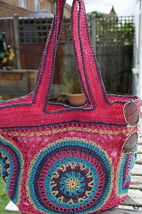 Crochet clutch bag, straw clutch bag, raffia bag, handmade, straw yarn