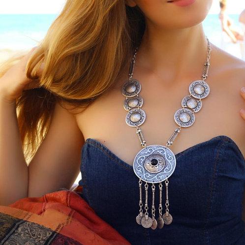 Bohemian Long Antique Silver Necklace