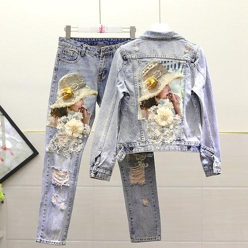 European Style Denim Jacket Women Fashion Heavy Embroidery Beaded
