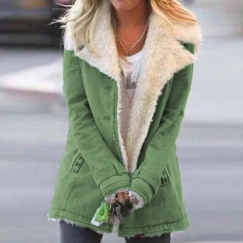 Button Lapel Collar Pockets Jacket Outerwear Big Size 4XL Women