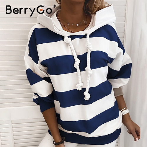 BerryGo Casual Stripe Loose Women's Hoodie Fashion