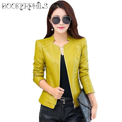 2020 Casual Long Sleeve Women Soft PU Leather Jacket Outerwear Winter Autumn