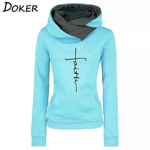Autumn Winter Hoodies Sweatshirts Women Faith Embroidered
