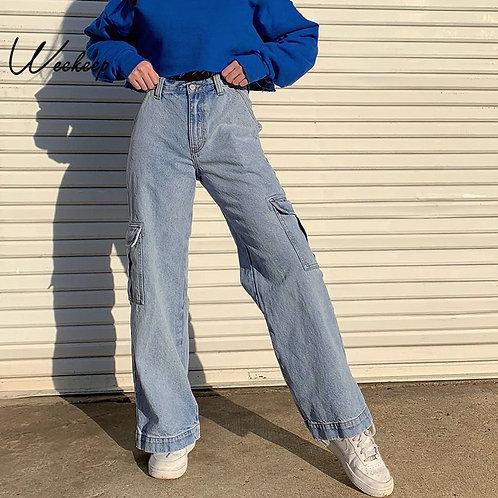 Weekeep Pockets Patchwork High Waist Jeans Women Streetwear