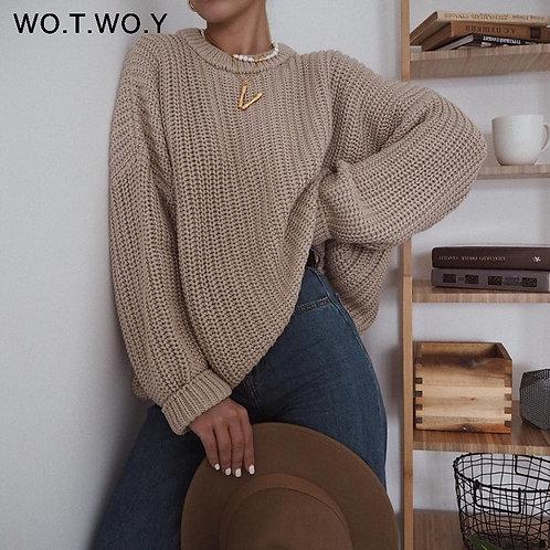 WOTWOY Elegant Autumn Oversized Sweater Women Solid Loose