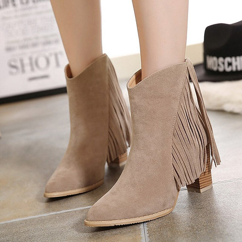 New Winter Suede Leather Boots Women Plush Fur Short Ankle