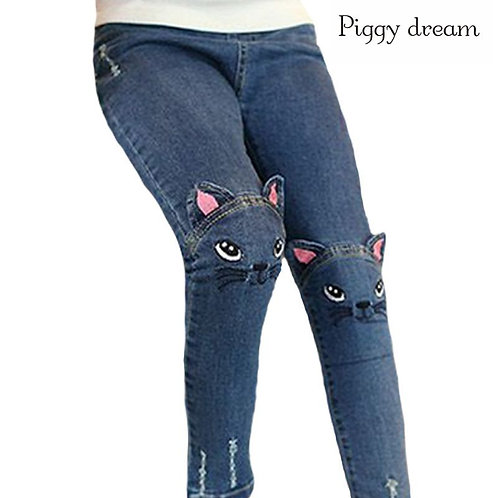 New Fashion Cartoon Cat Girls Jeans Spring Autumn Girls Leggings