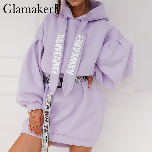 Glamaker Purple Loose Sweatshirt Hoodies Fashion Women Casual