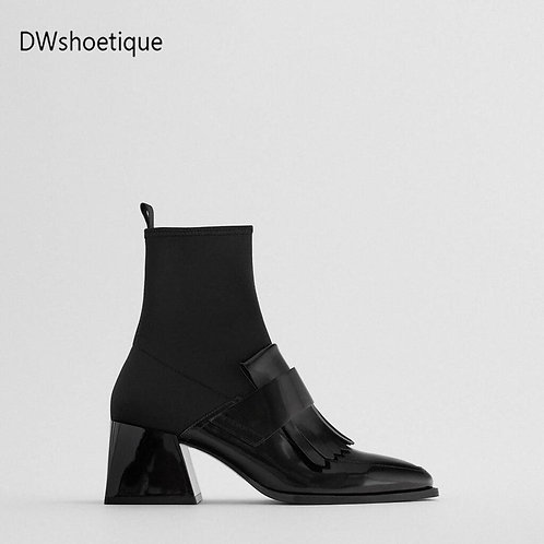 Winter Chunky Heel Women Ankle Boots Square Toe Women Booties