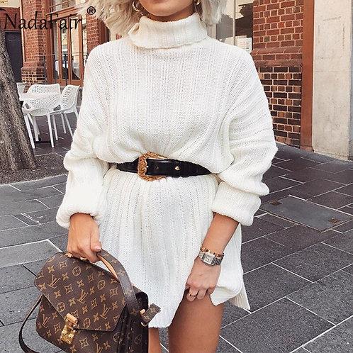 Nadafair White Sweater Dresses 2020 Christmas Solid Long Sleeve