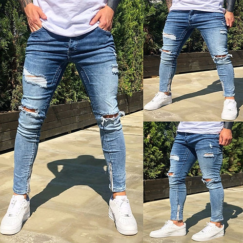 Stretch Ripped Cropped Pants Men 2020 Brand New Mens Destroyed