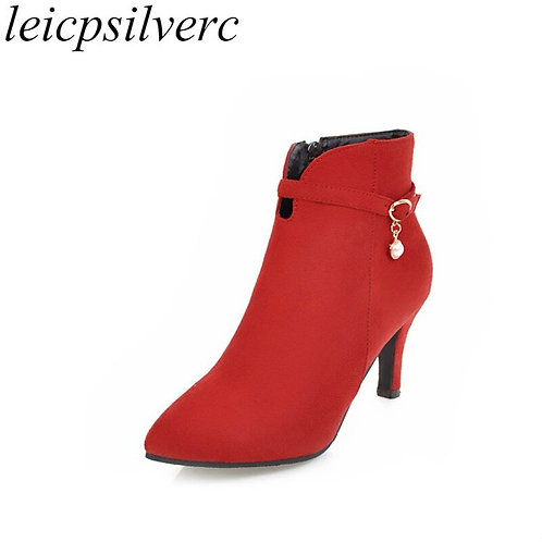 Women's Boots Autumn Winter High Heel Warm Flock Pointed