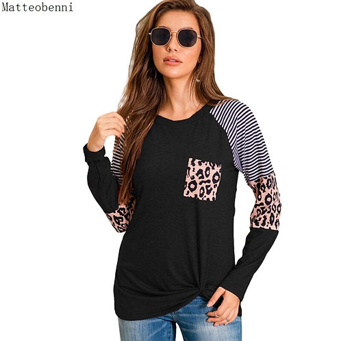 New Fashion Striped Leopard Patchwork T-Shirt Women Autumn