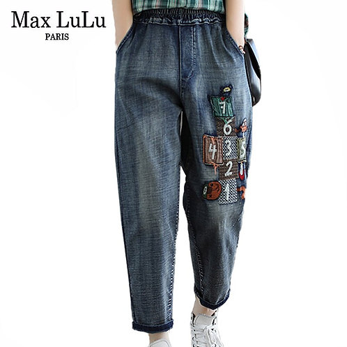 Max LuLu 2020 New Chinese Fashion Autumn Ladies Elastic Denim