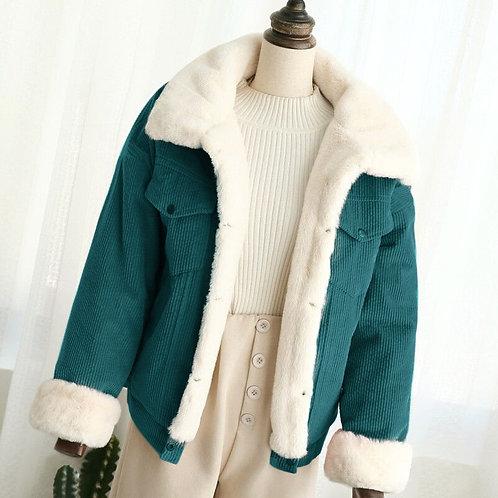 Autumn Winter Corduroy Basic Jeans Jacket Warm Lambswool