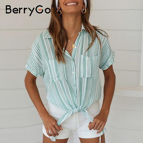 BerryGo Casual Striped Green Shirt Women Fashion Summer Tops