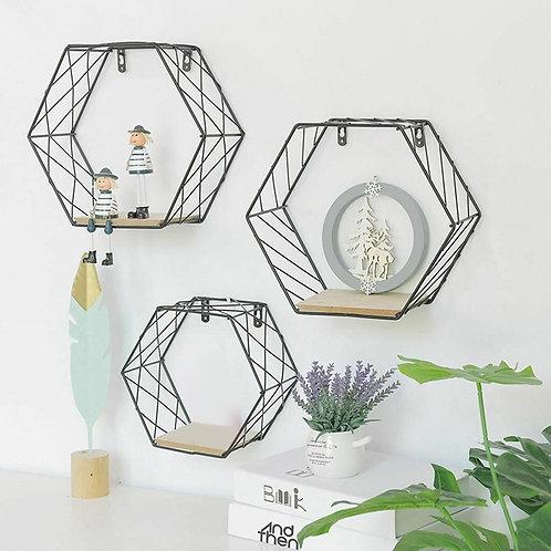 2020  Iron Hexagonal Grid Wall Shelf Combination Hanging