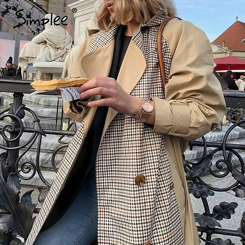 Simplee Causal Light Tan Autumn Women Trench Coat Split Joint