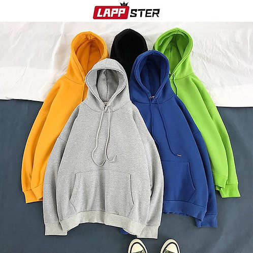 LAPPSTER Men Solid Harajuku Hooded Hoodies 2020 Thick