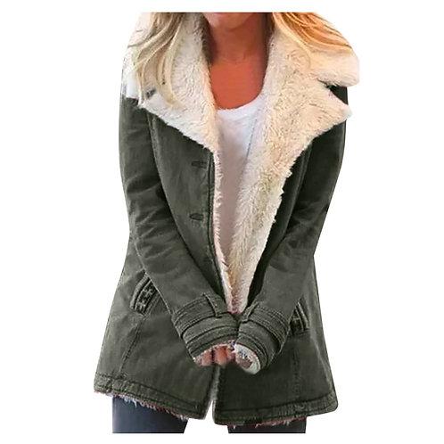 Women Plus Size Warm Coats Composite Plush Button Lapels Jacket