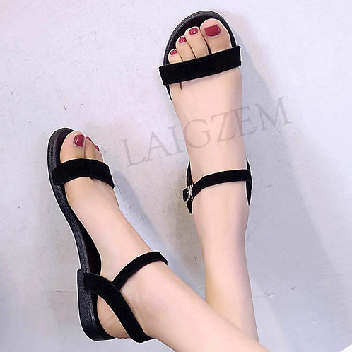LAIGZEM BASIC Women Sandals Suede Flat Heels Handmade