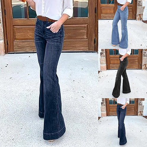 Women Wide Leg Pants Women Autumn Pull Femme Full Length F