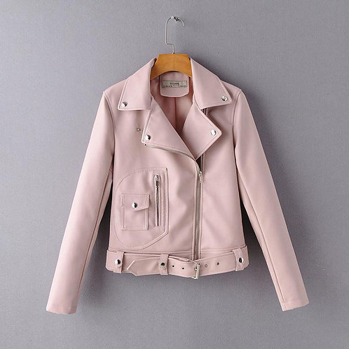 Spring Autumn Pu Jacket Woman Long Sleeve Solid Casual Coat